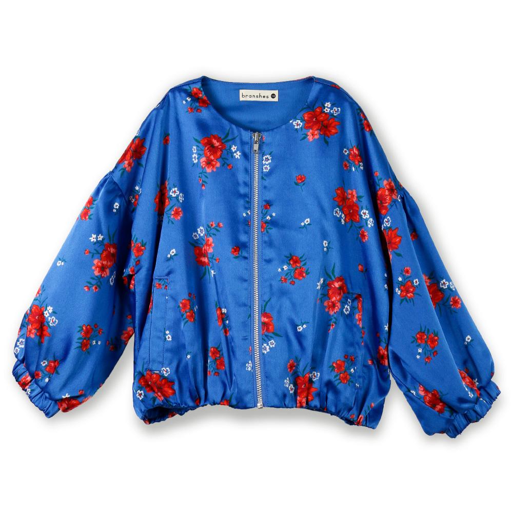 ノーカラー花柄ジャケット